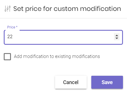 Setting a price for a custom modification