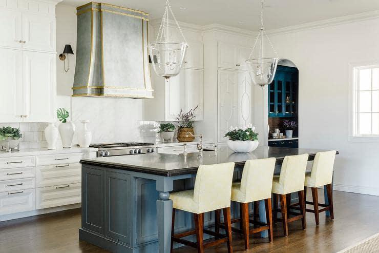 Blue and Gold Kitchen Design by Lauren Haskett Fine Design