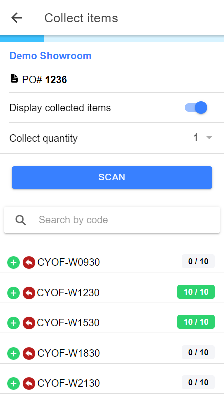 collect items