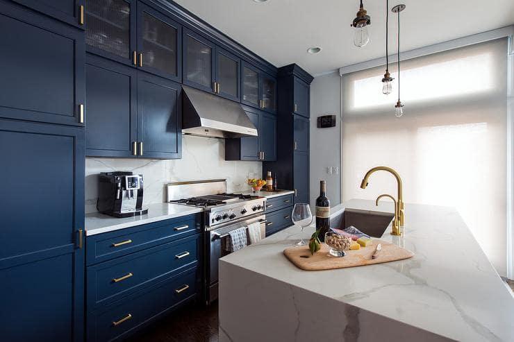 Marine Blue Shaker Kitchen Cabinets Inspiration Skin Interior Design