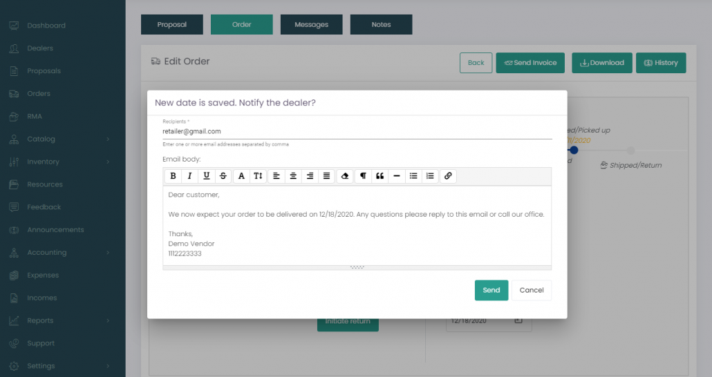Improved Communication Between Manufacturers and Retailers with a New Type of Email