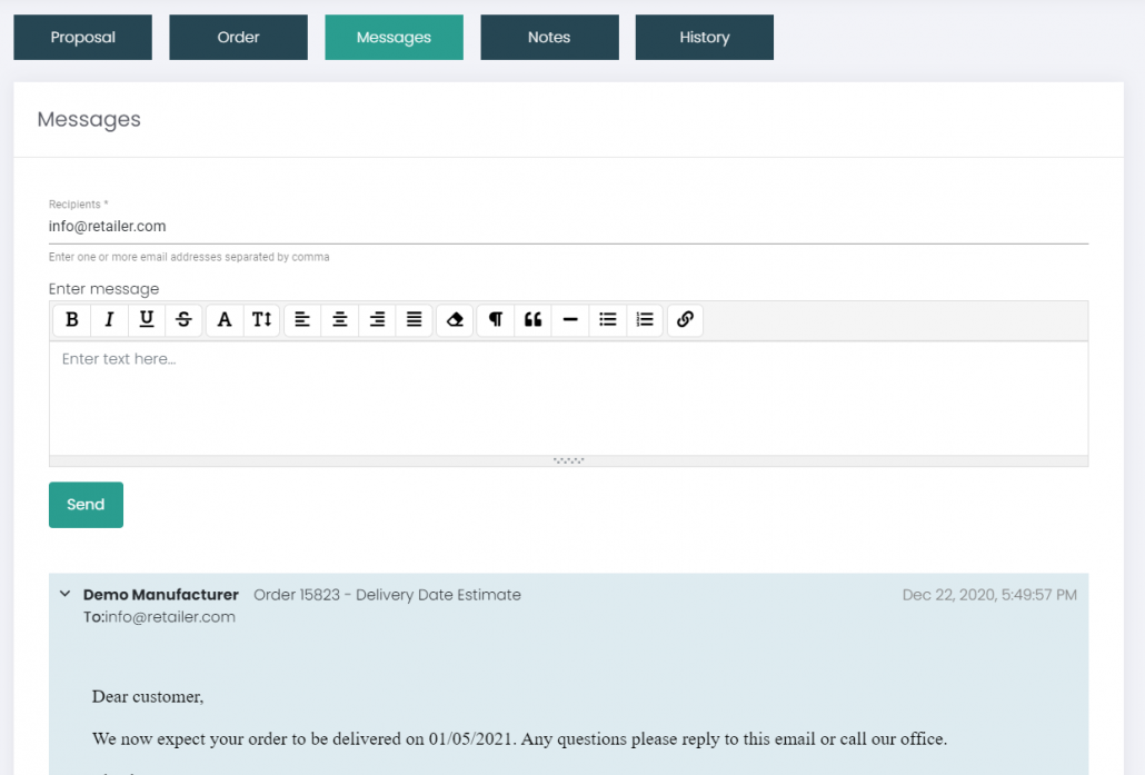 Improved Email Communication and Logging within the App