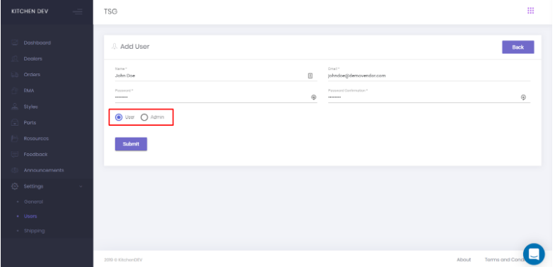 Create User page