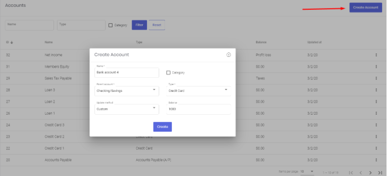 Create checking or savings account
