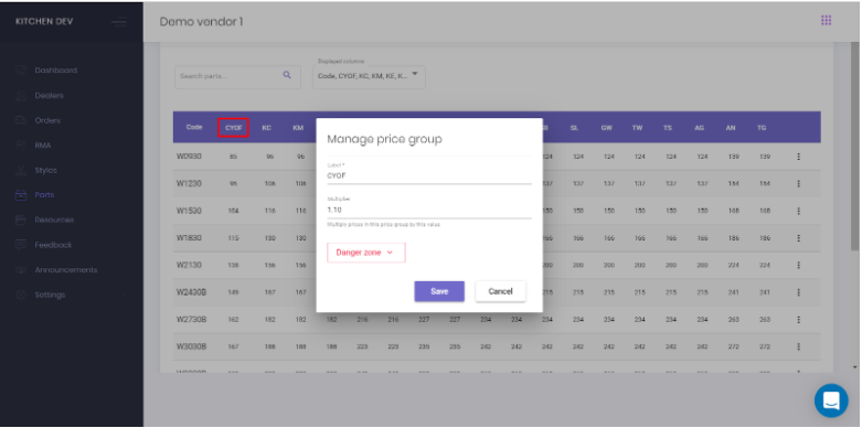Manage price group