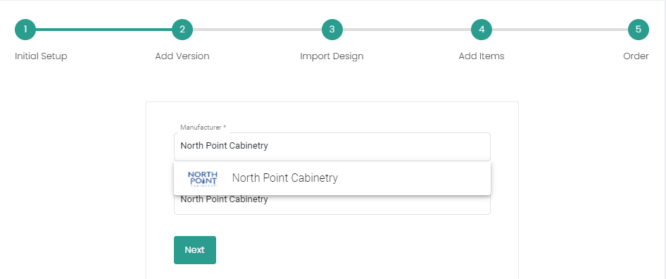 Selecting NorthPoint Cabinetry while creating a proposal