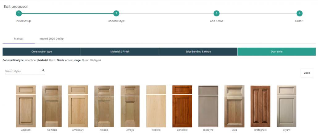 Door style selection