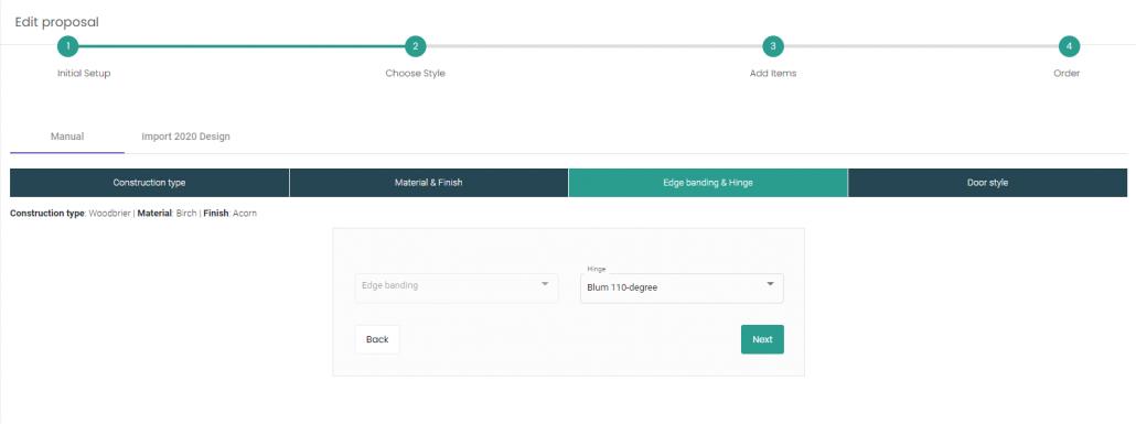 Edge banding and hinge option selection