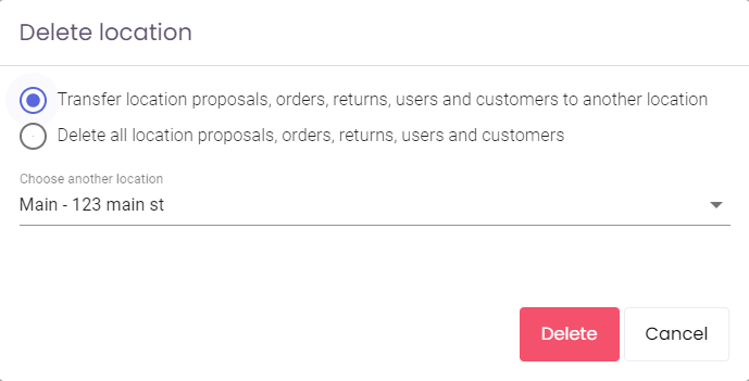 Delete Location Dialog within Cabinet Pricing & Ordering App by KitchenDEV