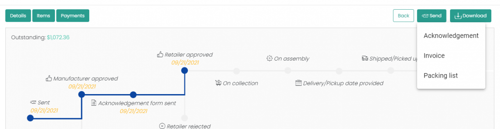 Manufacturers Can Now Send Acknowledgements and Packing Slips via Email from the Order Page